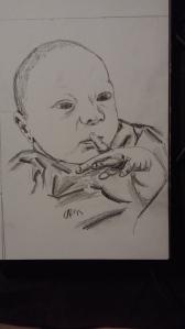 H newborn sketch